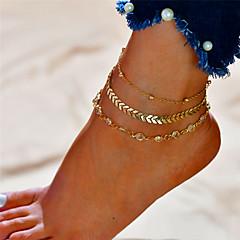 baratos Bijoux de Corps-Camadas Tornezeleira - Formato de Letras Fashion, Multi Camadas Dourado / Prata Para Presente Diário Mulheres