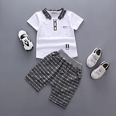 tanie Ubranka dziecięce Chłopięce-Dziecko Dla chłopców Casual / Aktywny Codzienny / Wyjściowe Solidne kolory Krótki rękaw Regularny Bawełna / Akryl Komplet odzieży Biały / Brzdąc