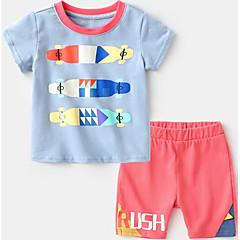 billige Tøjsæt til drenge-Børn Drenge Blå & Hvid Trykt mønster Kortærmet Tøjsæt