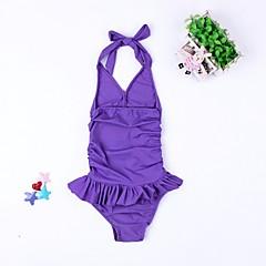 billige Badetøj til piger-Børn Pige Sport Ensfarvet Åben ryg / Blondér Uden ærmer Bomuld Badetøj