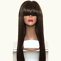 cheap Wigs & Hair Pieces-Virgin Human Hair Lace Front Wig Brazilian Hair Straight Layered Haircut 180% Density Natural Hairline / With Bangs Black Long Women's