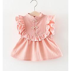 billige Babykjoler-Baby Pige Ensfarvet Uden ærmer Kjole