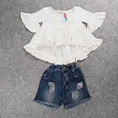 billige Tøjsæt til piger-Børn Pige Ensfarvet Halvlange ærmer Tøjsæt