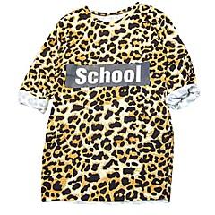 baratos Roupas de Meninas-Infantil Para Meninas Leopardo Manga Curta Vestido