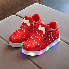 Boys' / Girls' Shoes PU(Polyurethane) Spring / Fall Bootie / Light Up Shoes Boots Chain / LED for Kids / Baby Black / Red / Pink / Booties / Ankle Boots