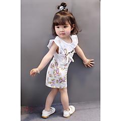 billige Sett med babyklær-Baby Pige Aktiv I-byen-tøj Blomstret Kortærmet Bomuld Tøjsæt