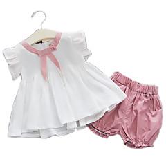 billige Babytøj-Baby Pige Aktiv Patchwork Patchwork Kortærmet Bomuld Tøjsæt