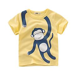 tanie Odzież dla chłopców-Dzieci Dla chłopców Aktywny Codzienny Nadruk Nadruk Krótki rękaw Regularny Bawełna T-shirt Zielony