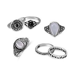 billige Motering-Dame Diamant Hul Ring Set Midi Ring - Fuskediamant, Legering Punk Lolita, Prinsesse Lolita, søt stil Sølv Til Gave Skole / 6pcs
