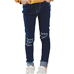 billige Jeans til piger-Børn Pige Gade / Punk & gotisk Sport Trykt mønster Hul Bomuld Jeans