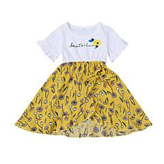 billige Babykjoler-Baby Pige Basale / Gade Daglig / I-byen-tøj Blomstret Kortærmet Kort Knælang / Over knæet Bomuld Kjole Hvid