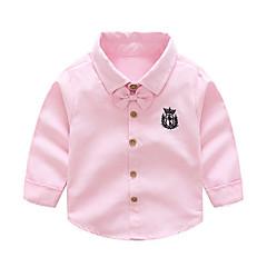 billige Overdele til drenge-Børn Drenge Ensfarvet Langærmet Skjorte