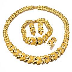 baratos Conjuntos de Bijuteria-Mulheres Camadas Conjunto de jóias - Banhado a Ouro 18K Étnico Incluir Bracelete Brincos Compridos Colares com Pendentes Dourado Para Noivado namorados / Anel