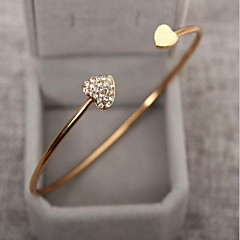 cheap Bracelets-Women's Cubic Zirconia tiny diamond Bracelet Bangles Cuff Bracelet Rhinestone Gold Plated Heart Love Ladies Basic Fashion Bracelet Jewelry Silver / Golden For Wedding Party Birthday Gift Daily