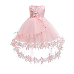 billige Babykjoler-Baby Pige Vintage I-byen-tøj / Fødselsdag Ensfarvet Uden ærmer Knælang / Asymmetrisk Bomuld / Polyester Kjole Hvid