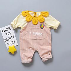 billige Babytøj-Baby Pige Afslappet / Aktiv I-byen-tøj Stribet Drapering Langærmet Bomuld Tøjsæt
