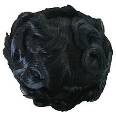 billiga Peruker och hårförlängning-Herr Äkta hår Tupéer Vågigt 100 % handbundet Mjuk