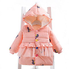 billige Babytøj-Baby Pige Trykt mønster Langærmet dun- og bomuldsforet