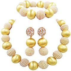 baratos Conjuntos de Bijuteria-Mulheres Fio Único Conjunto de jóias - Bola Fashion Incluir Pulseiras Strand Azul / Rosa claro / Rosa Para Casamento