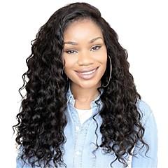 billiga Peruker och hårförlängning-Remy-hår Spetsfront Peruk Brasilianskt hår Loose Curl Peruk Frisyr i lager 130% Naturlig hårlinje / Till färgade kvinnor Svart Dam Lång Äkta peruker med hätta