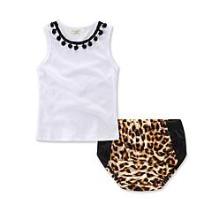 billige Sett med babyklær-Baby Pige Vintage / Aktiv Ferie Leopard Trykt mønster Uden ærmer Tøjsæt
