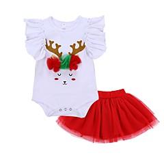 billige Sett med babyklær-Baby Pige Afslappet / Basale Ferie Trykt mønster Net / Trykt mønster Kortærmet Bomuld Tøjsæt