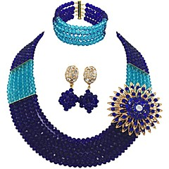 baratos Conjuntos de Bijuteria-Mulheres Camadas Conjunto de jóias - MOON Fashion Incluir Strands Necklace Vermelho / Verde / Rosa Para Casamento