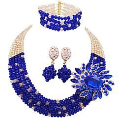 baratos Conjuntos de Bijuteria-Mulheres Camadas Conjunto de jóias - MOON Fashion Incluir Strands Necklace Verde / Rosa / Champanhe Para Festa