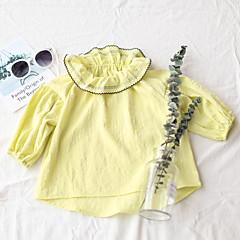 billige Babyoverdele-Baby Pige Gade Ensfarvet Langærmet Bomuld Bluse Grøn