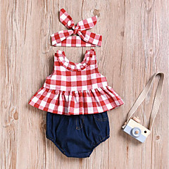 billige Sett med babyklær-Baby Pige Aktiv / Basale Daglig / Sport Houndstooth mønster Uden ærmer Normal Bomuld / Polyester Tøjsæt Rød 110