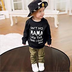 billige Babytøj-Baby Pige Aktiv / Basale Daglig Ensfarvet Langærmet Lang Bomuld / Polyester Tøjsæt Sort 100
