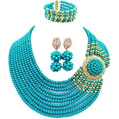 baratos Conjuntos de Bijuteria-Mulheres Camadas Conjunto de jóias - MOON Fashion Incluir Strands Necklace Azul / Rosa claro / Champanhe Para Casamento