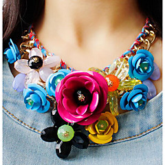 cheap Necklaces-Women's Crystal Plaited Wrap Statement Necklace - Roses, Flower Statement, Ladies, European, Festival / Holiday Green, Blue, Pink Necklace Jewelry For Party, Special Occasion, Birthday
