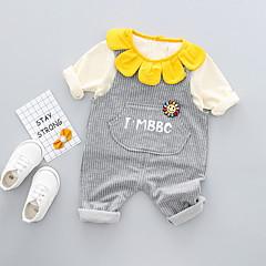billige Sett med babyklær-Baby Pige Basale Daglig Ensfarvet Kortærmet Normal Polyester Tøjsæt Navyblå 100