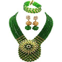 baratos Conjuntos de Bijuteria-Mulheres Camadas Conjunto de jóias - MOON Fashion Incluir Strands Necklace Vermelho / Verde / Champanhe Para Festa