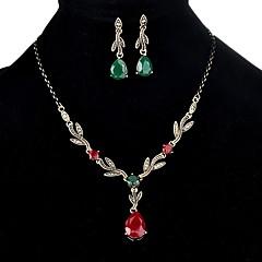 baratos Conjuntos de Bijuteria-Mulheres 3D Conjunto de jóias - Resina Formato de Folha, Caído Estiloso, Clássico Incluir Brincos Compridos / Colar Dourado Para Diário