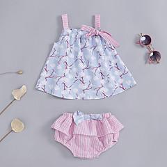billige Sett med babyklær-Baby Pige Stribet / Blomstret Uden ærmer Tøjsæt
