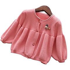 billige Sweaters og cardigans til piger-Baby Pige Basale Ensfarvet Langærmet Normal Polyester Trøje og cardigan Rød 100