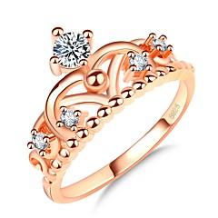 billige Motering-Dame Elegant Ring - Gullplatert rose, Fuskediamant Krone Koreansk, Mote, Elegant 5 / 6 / 7 Rose Gull Til Daglig / Stevnemøte