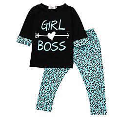 billige Sett med babyklær-Baby Pige Leopard Halvlange ærmer Tøjsæt