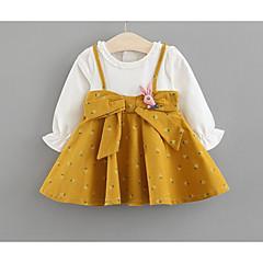 billige Babykjoler-Baby Pige Basale Trykt mønster Langærmet Bomuld Kjole
