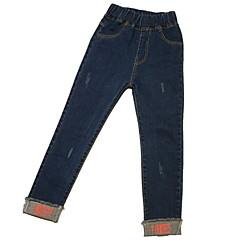 baratos Roupas de Meninas-Infantil Para Meninas Básico Sólido rasgado Algodão Jeans