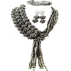 baratos Conjuntos de Bijuteria-Mulheres Camadas Conjunto de jóias - Cristal Austríaco MOON Fashion Incluir Strands Necklace Rosa claro / Rosa / Champanhe Para Casamento Festa