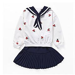billige Tøjsæt til piger-Børn Pige Ensfarvet / Frugt Langærmet Tøjsæt