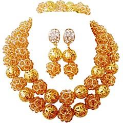 baratos Conjuntos de Bijuteria-Mulheres Camadas Conjunto de jóias - Cristal Austríaco MOON Fashion Incluir Strands Necklace Azul / Rosa / Champanhe Para Casamento Festa
