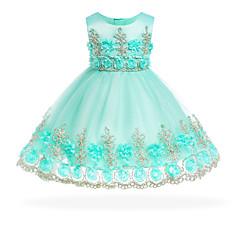 billige Babytøj-Baby Pige Vintage I-byen-tøj Blomstret Uden ærmer Knælang Bomuld Kjole