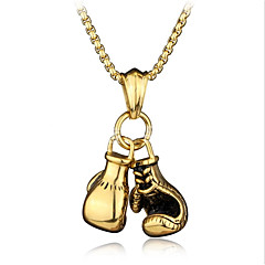 cheap Men's Necklaces-Men's Stylish Foxtail chain Pendant Necklace / Chain Necklace - Boxing Gloves Stylish, European, Hip-Hop Cool Gold, Silver 60 cm Necklace Jewelry 1pc For Gift, Street