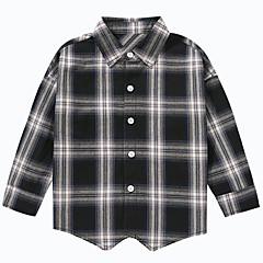 baratos Roupas de Meninos-Infantil Para Meninos Xadrez Manga Longa Camisa