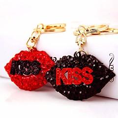 baratos Chaveiros-Lábios Chaveiro Preto / Vermelho Irregular Zircão, Liga Doce, Fashion Para Bandagem / Bagels