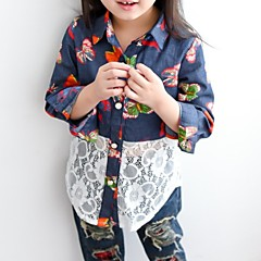 baratos Roupas de Meninas-Infantil Para Meninas Estampado Manga Longa Camisa